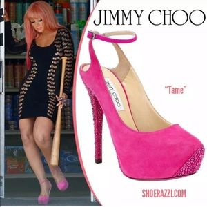 Famous C. Aguilera ✨Jimmy Choo Tame hot pink pumps